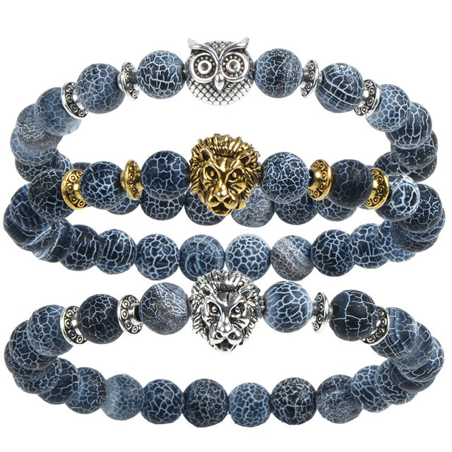 Leopard Tiger Eye Lion Head Bracelet Owl Buddha Bead Bracelets Bangles Skull Charm Natural Stone Bracelet yoga Jewelry Men Women 1