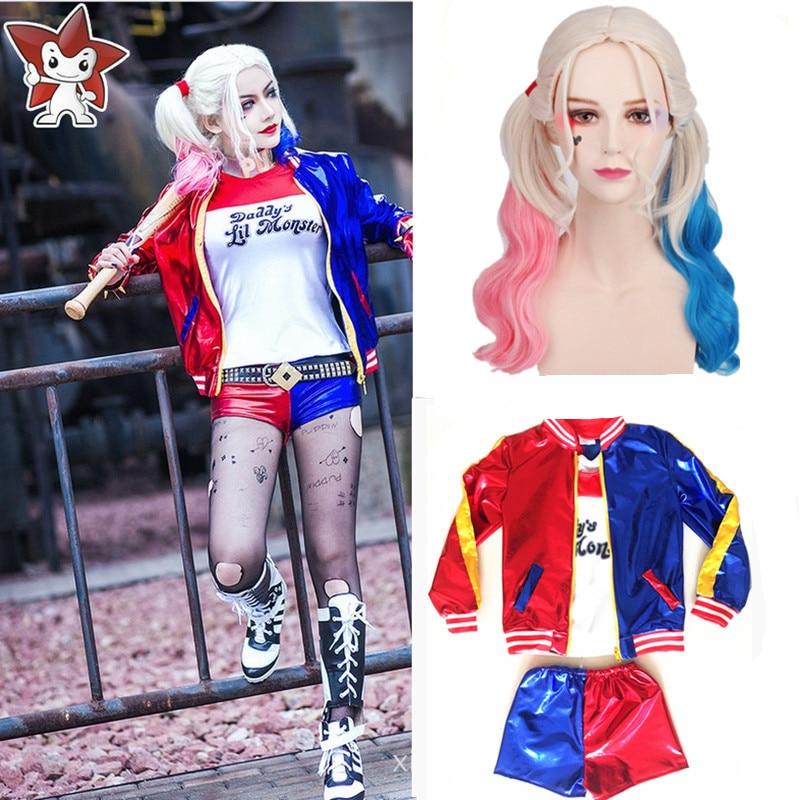 neue kinder madchen kinder suicide squad harley quinn cosplay kostume halloween joker gedruckt jacke t hemd shorts sets in neue kinder madchen kinder