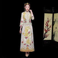 Vintage Bridal Embroidery Cheongsam Modern Traditional Chinese style Wedding Dress Oriental Womens Qipao Vestidos Size S XXL