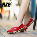 HKR 2017 spring women ballet flats genuine leather breathable shoes women slip on flat sandals loafers Open Toe sandals 928