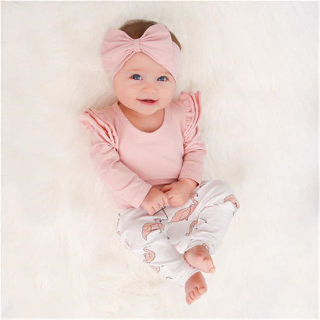 86fd9a64b522 3PCS Set Cute Baby Girl Clothes 2018 Spring Toddler Kids Tops+Flamingo  Print Pants Leggings Headband Children Girls Clothing Set