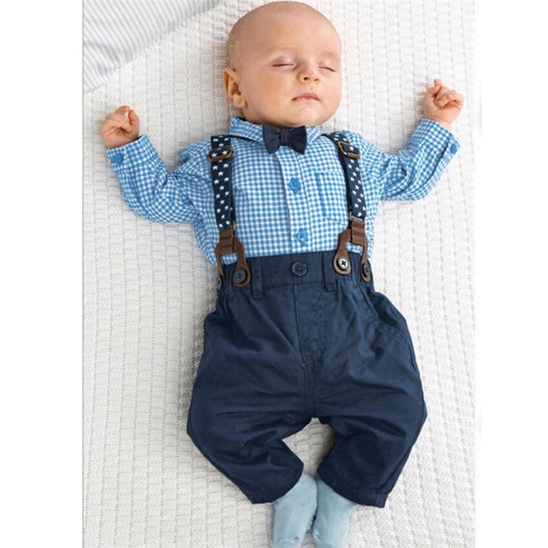 33ebc3bd55f1 Online Shop 2pcs Newborn Baby Boy Clothes Bow Tie Plaid Shirt+ ...