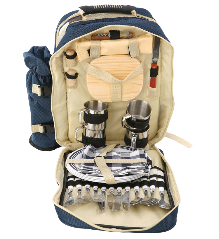 Outdoor portable multi-person picnic bag camping double shoulder bag with tableware. multi-purpose thermal insulation pack