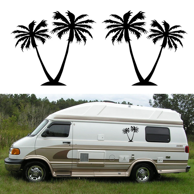 2x palm tree one for each side graphic diy car stickers camper van rv