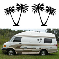 2x Palm Tree One For Each Side Graphic DIY Car Stickers Camper Van RV Trailer Truck