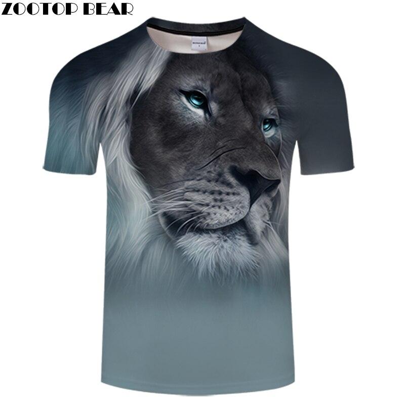 ZOOTOP BEAR 3D Digital Print T shirt Lion Design Short Sleeve shirt Unisex Summer Tee Top Plus Size 6XL Camiseta Male Brand Tee