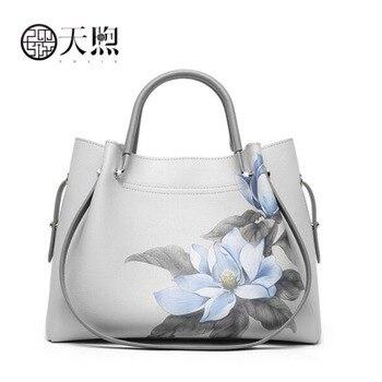 New cowhide luxury leather printing designer women Leather bag big capacity women shoulder crossbody bags for women gray bag
