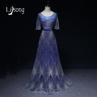 Modern Blue Evening Dress Long Women Maxi Gowns Vestidos De Festa Vestido Longo Half Sleeves Brides
