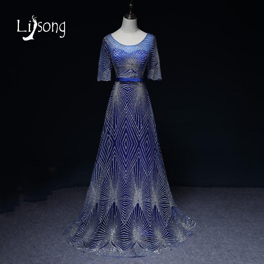 Modern Blue Evening Dress Long Women Maxi Gowns Vestidos de Festa ...