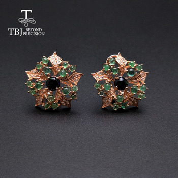 TBJ,new flower design emerald earrings natural gemstone emerald match black opal  925 sterling silver fine jewelry for women 925 sterling silver flower pendants for women natural hetian jade gemstone elegant orchid engraved fine jewelry