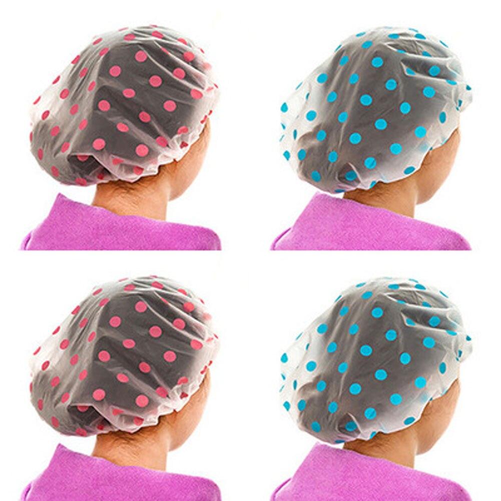 1 Pc Farbe Zufällig Dot Wasserdicht Dusche Kappe Verdicken Bad Hut Bade Kappe Für Frauen SorgfäLtig AusgewäHlte Materialien