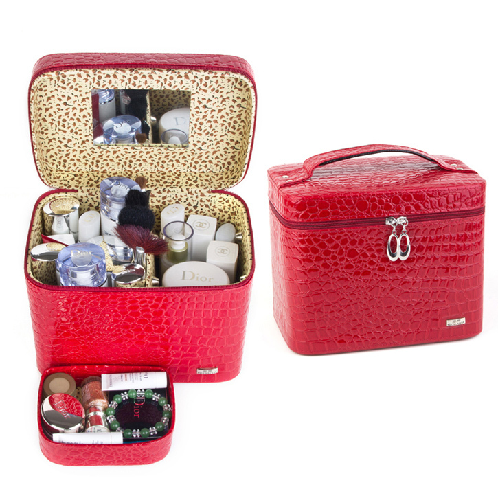 Fashion Alligator Leather women gift box organizer carrying casket Makeup bag Cosmetic bags cases storage boxes free shipping spark storage bag portable carrying case storage box for spark drone accessories can put remote control battery and other parts