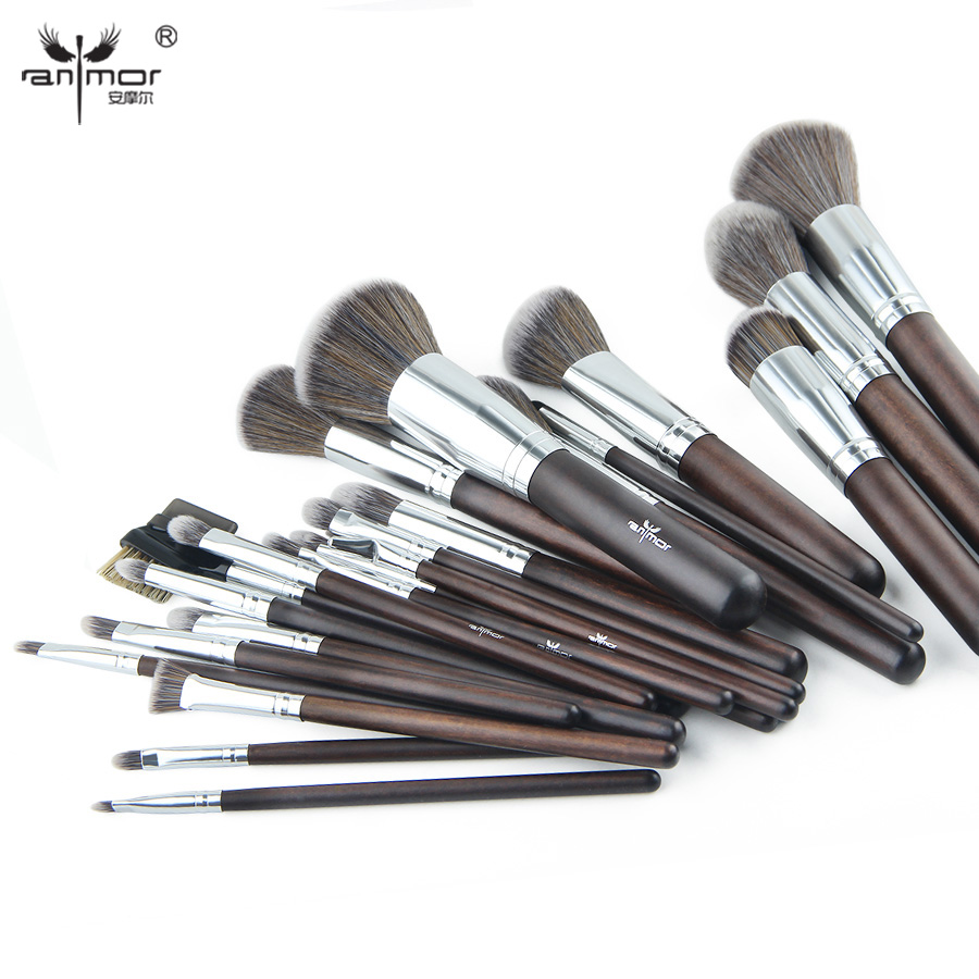 Anmor 23 pcs Makeup Brush Set Professional Synthetic Makeup Brushes Soft Powder Blush Eyeshadow Make Up Tools GR002 anmor make up brushes professional powder duo fibre eyeshadow makeup tool synthetic makeup brushes set with black bag