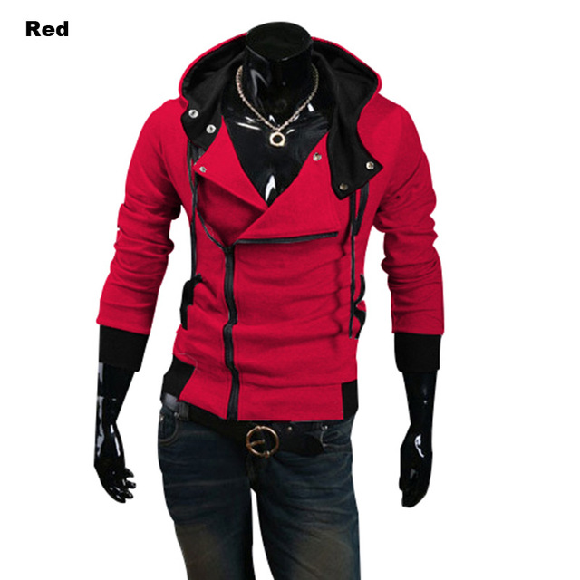 2016  Spring and Autumn Men's Long Sleeve Lovers Jacket Cotton Coat with A Hat Hoodie Inclined Zipper Hooded