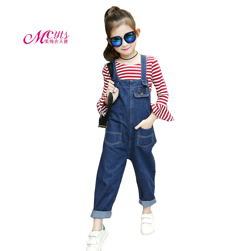 Girls Clothing Sets for Kids Striped Outfits Spring Autumn Girls Tops & Denim Bib Pants Set Children Clothes 4 6 8 10 12 Years kids girls clothes sets 8 10 12years children clothing boys set autumn set outfits 2017 spring suit letters denim jacket jeans