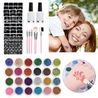 New Flash Temporary Tattoo Set 24 Flash Powder 125 Templates 2 Glues 5 Brushes Children's Temporary Tattoo Set for Teens Adults