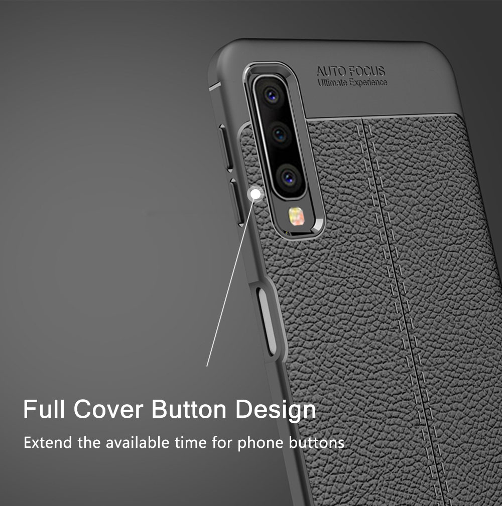 Luxury Soft TPU Silicone Phone Case For Samsung Galaxy A10 A30 A40 A50 A70 Leather Grained Litchi Pattern Shockproof Back Cover in Fitted Cases from Cellphones Telecommunications