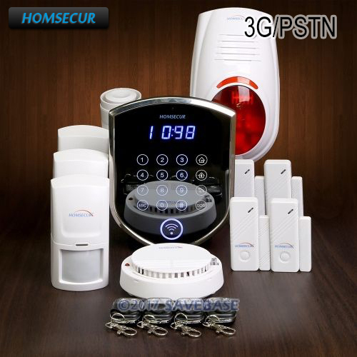 HOMSECUR Wireless&wired WCDMA 3G Home Security Alarm System With Smoke Detector
