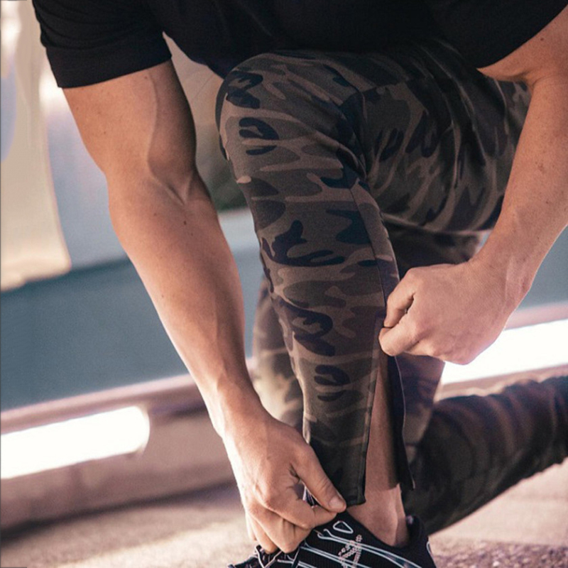Running Pants Camouflage Fitness Pants Running Sport Trousers Zipper Body Building Army Green Sweatpants Joggers Camouflage Gym Clothing Male