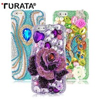3D Handmade Bling Full Diamond Peony Hard Transparent Cell Phone Protective Skin Cover Case For Apple