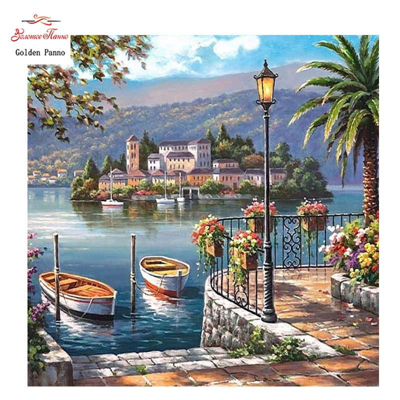 Golden Panno DIY DMC 14CT 11CT DMC Hand Made Cross Stitch Kits Needlework Embroidery Cross Stitch Wall Decoration Seaside 0621