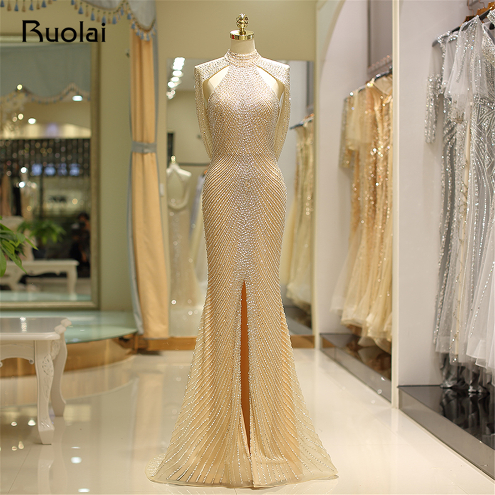 Sexy Mermaid   Evening     Dress   Long High Neck Beaded Prom   Dresses   2019 with Slit Formal Formal   Evening   Gown Robe de Soiree SQ14