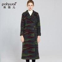 Длинные Повседневные принты шерсть пальто 2017, женская обувь pokwai Высокое Качество Двойной Брестед широкий талией женские пальто новый Мужск