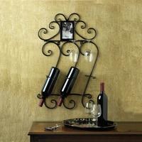 Metal Wine Rack 43X14X71CM Home Decor Bar Scrollwork Wall Mounted Wine Bottle Holder Rack Photo Frame
