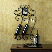 Metal Wine Rack 43X14X71CM Home Decor Bar Scrollwork Wall Mounted Wine Bottle Holder Rack Photo Frame