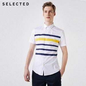 Image 2 - Selecionado masculino 100% algodão listrado na moda casual magro ajuste camisas de manga curta s