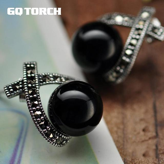 925 Sterling Silver Earrings For Women Inlaid Black Onyx Round Beads Vintage Marcasite Cross Design Fine Jewelry