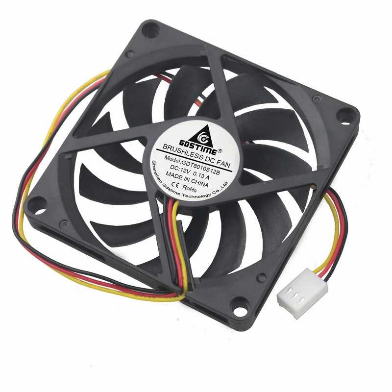 2 Pieces Gdstime 80mmx80mmx10mm Cooling Fan 80mm x 10mm DC 12V 3Pin Three Wires For PC CPU Case Cooler 8010 10 pcs wholesale dc 12v 0 1a 2 pin pc case cpu cooler cooling fan 40mm x 40mm x 10mm