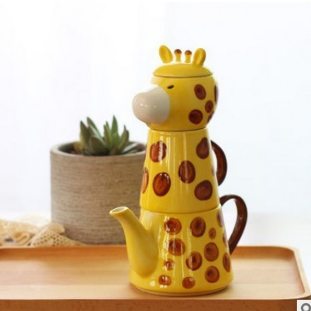 Nouveau ensemble de thé en céramique cadeau de bande dessinée théière tasse en céramique tasse à thé décoration de la maison une pièce lw61252py