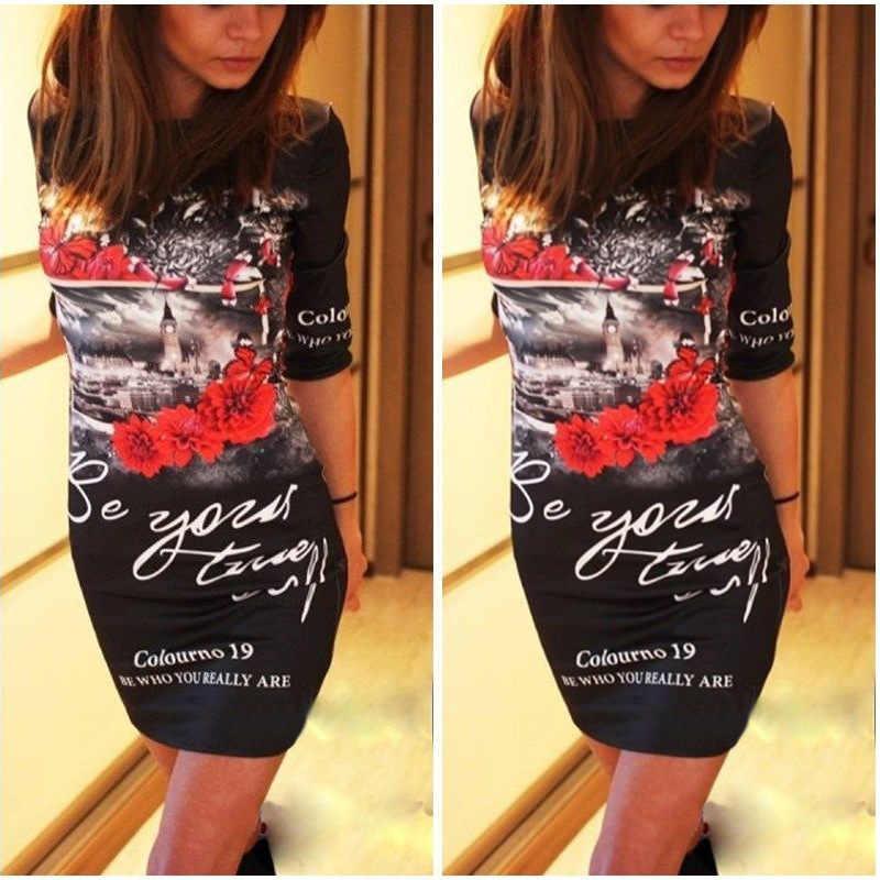 Модные весенние и летние женские сексуальные элегантные сумки бедра платье Обрезанные рукава Модный цветочный мини карандаш платье Модные женские
