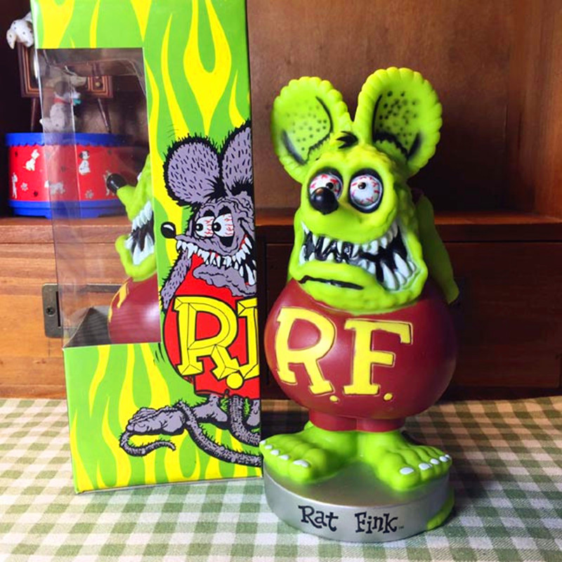 Ron Mann John Goodman Robert Williams Green Rat Fink Shaking Head Doll PVC Action Figure Collection Model Toy L2371