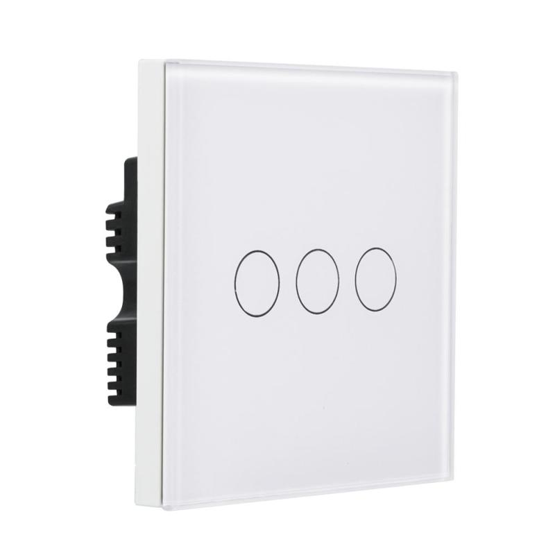 QIACHIP UK Plug AC 220V 10A WiFi Smart Touch Switch 3 Gang Light Wall Switch APP Remote Control Timing Work With Amazon Alexa H2 2 gang light wall touch switch gold crystal glass switch panel uk standard ac 90 250v timing remote control compatiable alexa