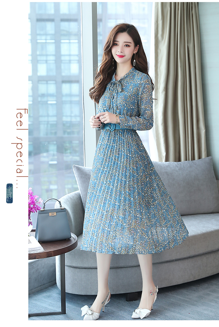 2019 Autumn Winter Vintage Chiffon Floral Midi Dress Plus Size Maxi Boho Dresses Elegant Women Party Long Sleeve Dress Vestidos 76