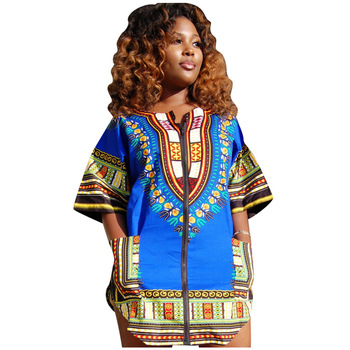 African Dresses For Women Dashiki Traditional Print Bazin Riche Short Vintage Front Zipper Half Sleeve Bodycon Dress Clothing formal wear