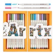 Arrtx 20pcs/lot Metallic Pen Colored Ink Water Chalk for Scrapbook Photo Album Drawing Watercolor Art Marker Pens Stationery