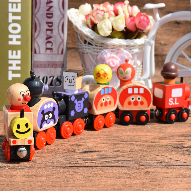 Baby Toys Christmas Train Set For Carrying People Wooden Toys Magnetic Vehicle Blocks Kids Educational Toys for Boys Gifts