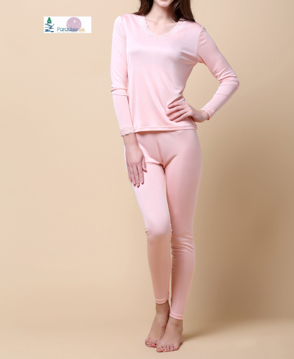 Women Long Johns 100% Pure Silk Knit Double Jersey Lace V Neckline Long Johns Set Thermal Underwear Set Size M L XL XXL