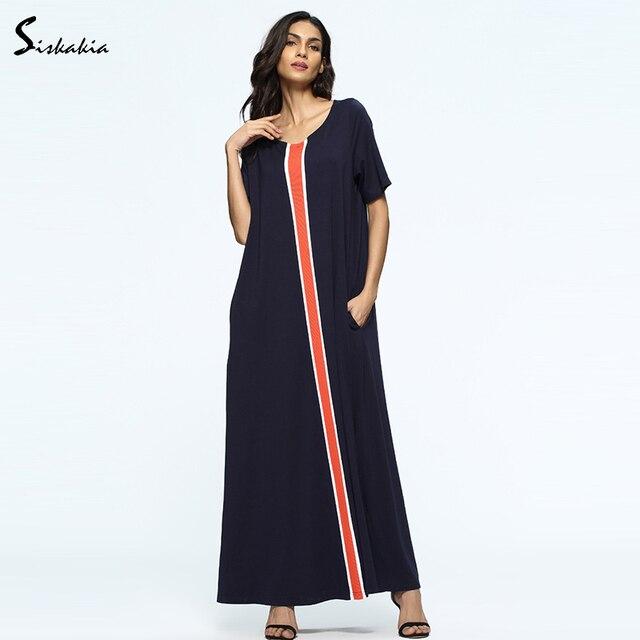 9b911745c Siskakia tamaños grandes suelto largo vestido de verano de 2018 Oriente  Medio Mujer Vestidos azul marino