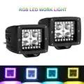 2PCS RGB LED WORK LIGHT WITH HALO RING 3INCH MULTICOLOR COLOR CHANGE OFFROAD FLASHING INDICATOR HEADLIGHT 12V 24V POD LAMP