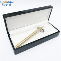 Handmade Brass Ballpoint Pen With Pen Holder Copper Ballpoint Pen for School Office Writing Supplies with Wood Pencil Case P648