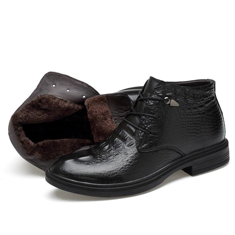 CLAX Men Leather Boots 2019 Winter Fur Boot Male Alligator Shoes Genuine Leather Retro Dress Shoe Warm Snow Footwear Big Size