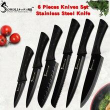 Sowoll Модные Черные Нержавеющая сталь кухня ножи комплект Германии ультра острое лезвие кухонный нож 7Cr17 инструменты 6 шт