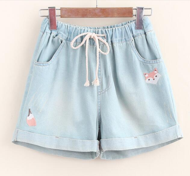 Small fox embroidery Elastic waist shorts Denim pants 2017 summer mori girl 18616-AK bear embroidery pocket shorts denim pants trousers mori girl summer