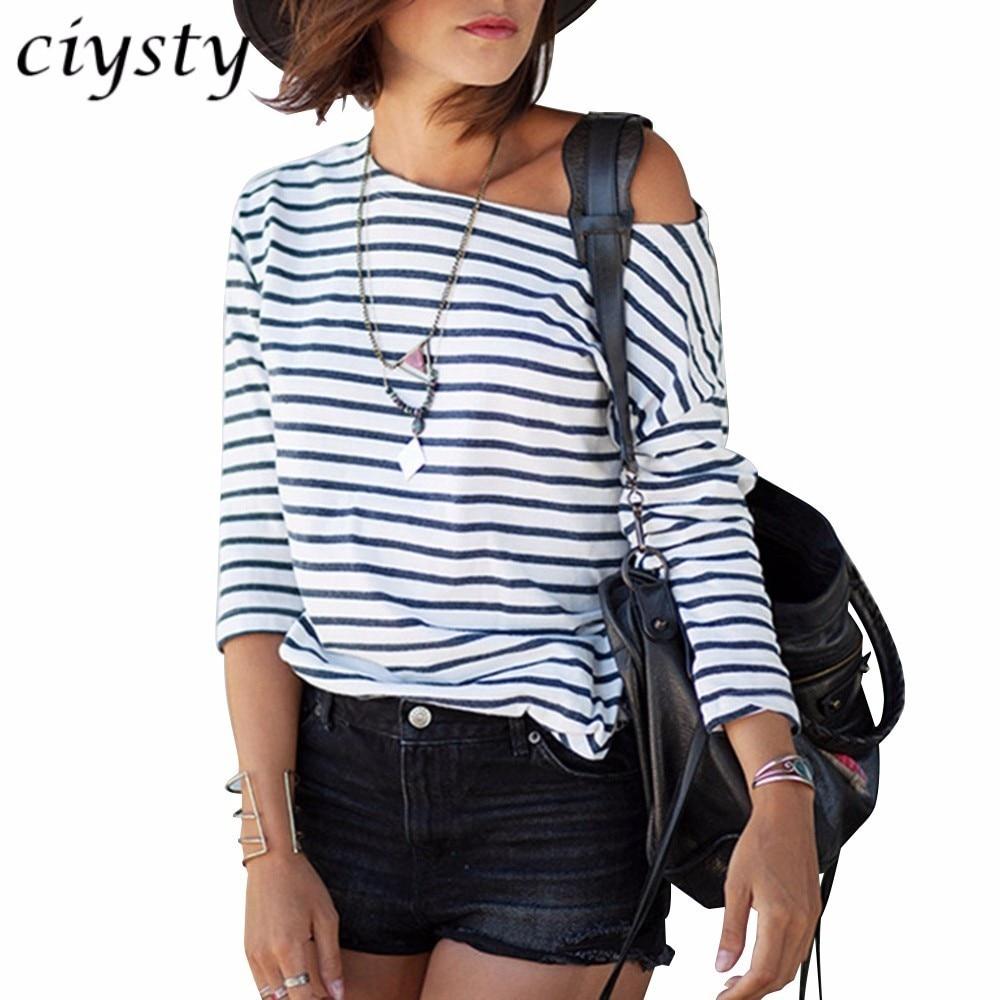 Fashion Stripe Women One Shoulder Casual Camisetas Tee Shirt Loose Graphic Blusas Tops