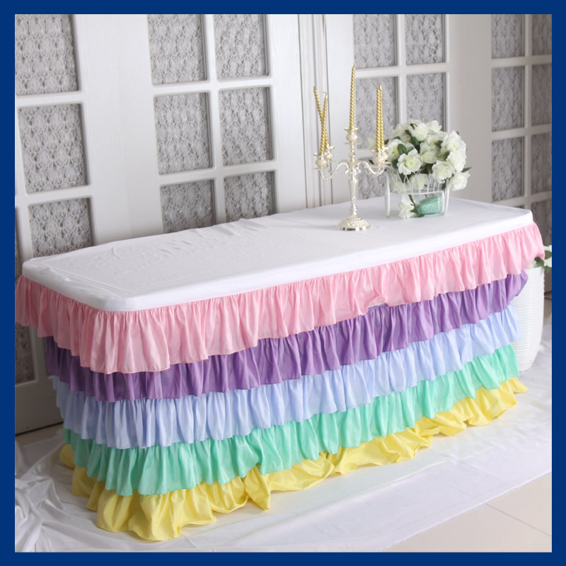 SK003A taffeta ruffled 6ft rectangle 30'' wide, 72'' long, 30'' drop' pastel rainbow table cloth with top