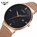 LIGE Relógios dos homens Nova marca de luxo relógio dos homens dos esportes Da Forma de quartzo-relógio de aço inoxidável cinta de malha ultra fino data mostrador do relógio